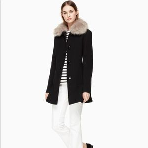 NEW kate spade On Pointe Faux Fur Collar Coat